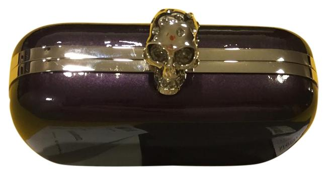 Item - Box Classic Crystal Skull Deep Purple Leather Clutch