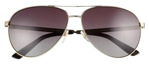 Gucci GUCCI 61mm Polarized Aviator Sunglasses Gold Brown Metal Frame