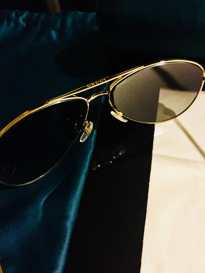 84279cef7b4 Gucci GUCCI 61mm Polarized Aviator Sunglasses Gold Brown Metal Frame Image  6. 1234567