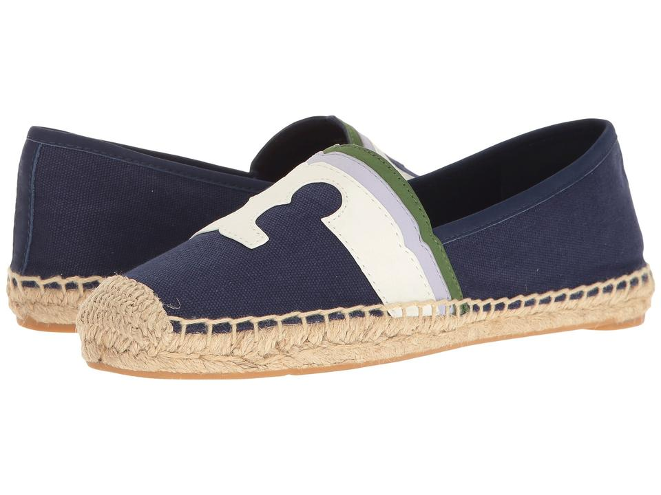 69fd7ae5d Tory Burch Embroidered Espadrille Comfortable Laguna Leather Logo Navy Flats  Image 8. 123456789