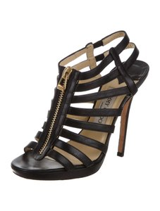 Jimmy Choo Cage Glenys 7.5 Strappy Black Sandals