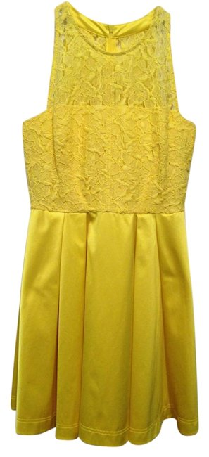 Karen Millen Bright Yellow Lace Sleeveless Mid-length Cocktail Dress Size 10 (M) Karen Millen Bright Yellow Lace Sleeveless Mid-length Cocktail Dress Size 10 (M) Image 1