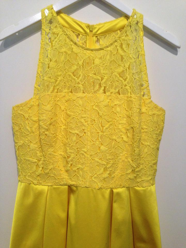 510bc8d575 Karen Millen Bright Yellow Lace Sleeveless Mid-length Cocktail Dress Size  10 (M) - Tradesy