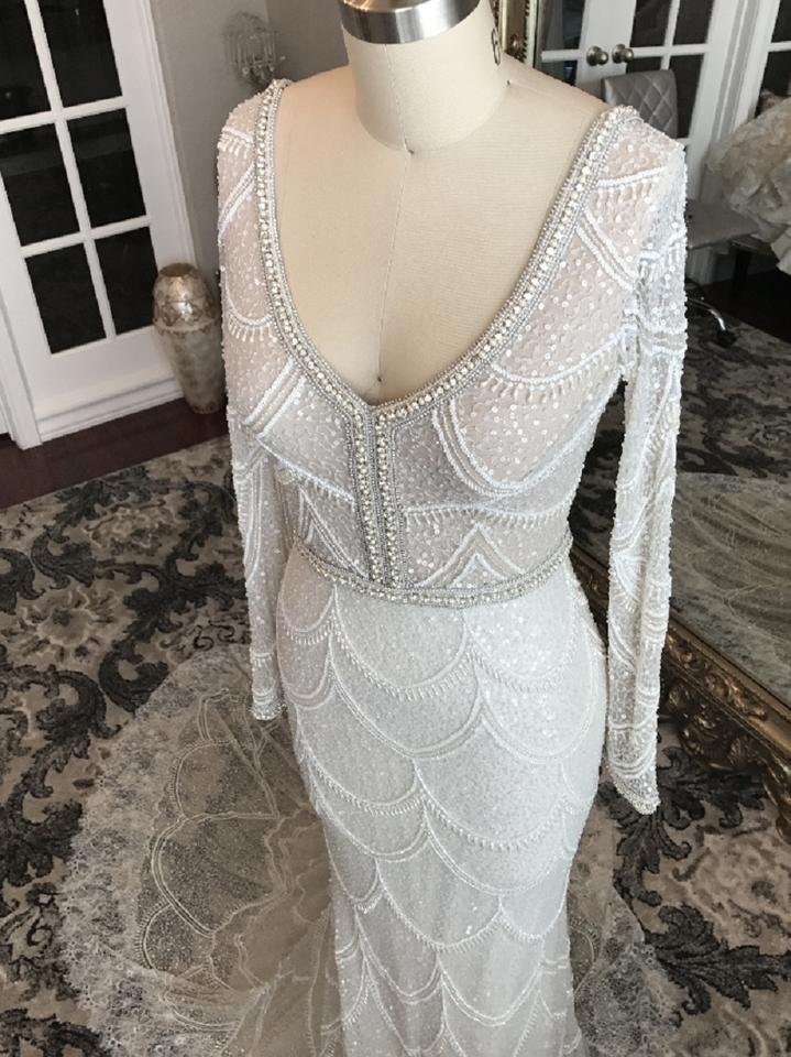 Off White Multi Beaded Lace Embellished Mesh Mermaid Gown Formal ...