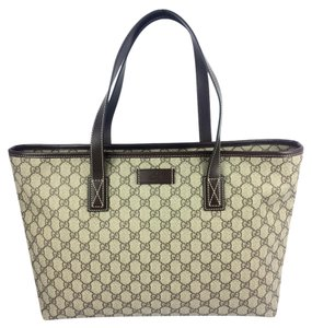 ff2fb4b12 Gucci Gg Plus Large Zip Top #211137 Beige/Ebony Coated Canvas Tote ...