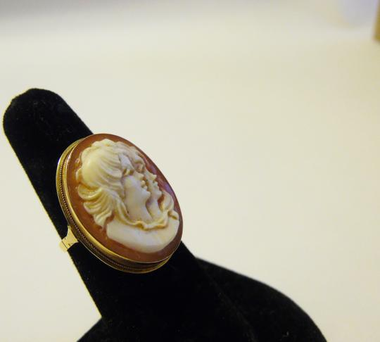 "AMEDEO M&M Scognamiglio 14K 20mm "" Two Sisters"" Cameo Ring Size 7"