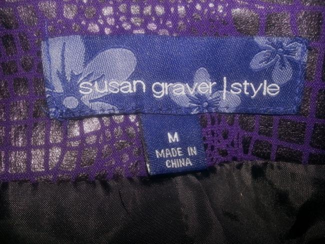 Susan Graver Animal Print Zipper Front 3/4 Sleeves Like New Purple Jacket
