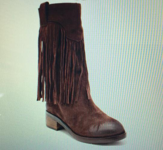 Lucky Brand Caleb Oiled Leather Fringe Festival Music Bohemian Boho Hippie Brown Boots