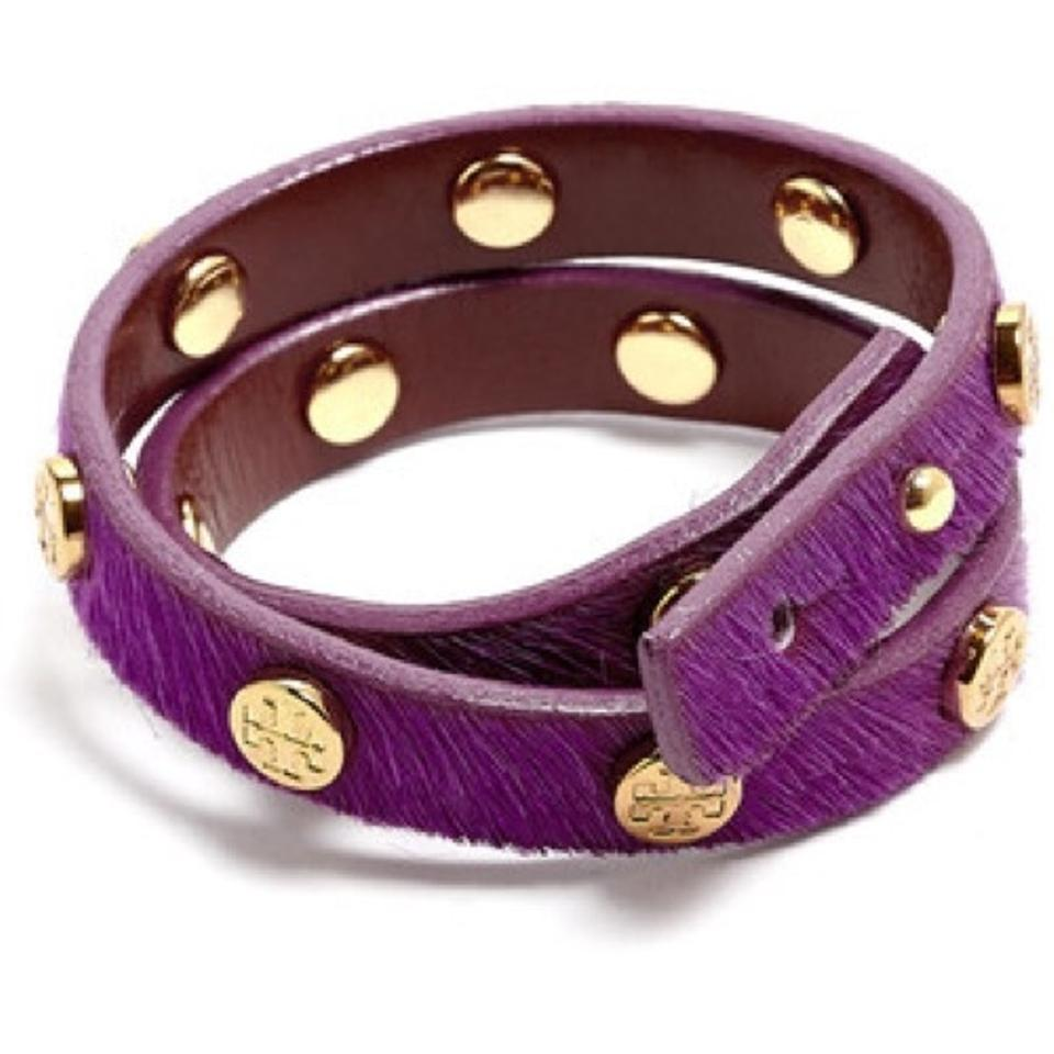 f67d058ea575b Tory Burch NEW Logo Stud Double Wrap Bracelet Calf Hair Leather Purple Gold  Image 0 ...