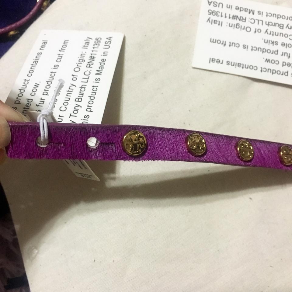 411c60476ae1e Tory Burch NEW Logo Stud Double Wrap Bracelet Calf Hair Leather Purple Gold  Image 11. 123456789101112