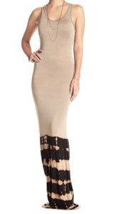 9c7a7b8bc69 Black   Cream Maxi Dress by Go Couture Banded Trim Tie Dye Pattern  Racerback Cool Modal