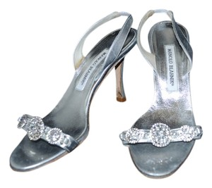 58f659cb3c6 Manolo Blahnik Silver Leather Crystal Heel Evening Sandals Size US 7  Regular (M, B)