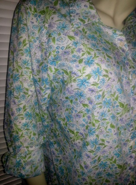 Jones New York Button Down Shirt teal, green and lavender on white