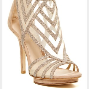 Pelle Moda Tan Suede Heel and Back w Plat Gold Metallic Mesh Sandals
