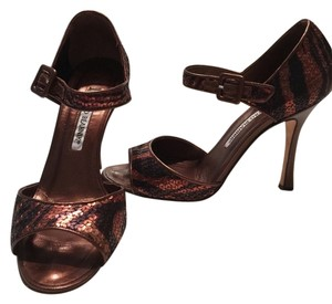Manolo Blahnik Bronze Sequin Copper Formal
