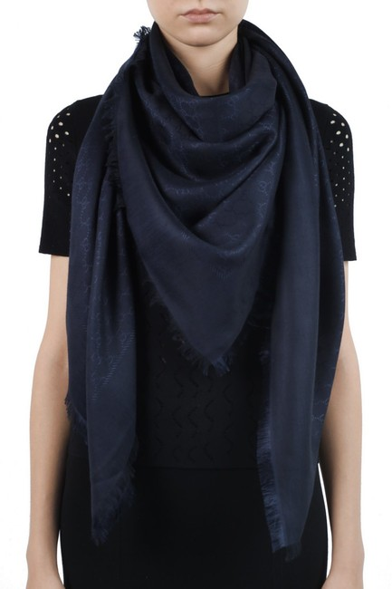 Item - Navy Blue Silk Wool Gg Jacquard Shawl Scarf/Wrap Poncho/Cape Size OS (one size)