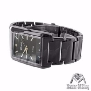 Geneva Rectangle Face Unisex Watch Black Gold Tone Geneva Platinum Black