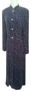 J. Peterman Silk Velvet Burnout Velvet Eggplant Topper Coat