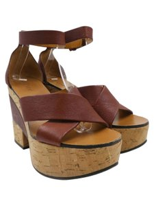 Chloe Wedges Leather Brown Platforms