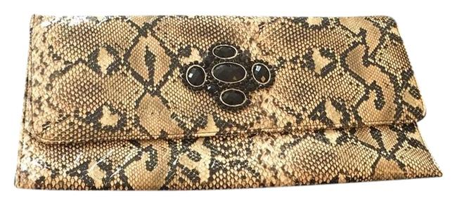Item - Snake Print Brown Black and Tan Faux Leather Clutch
