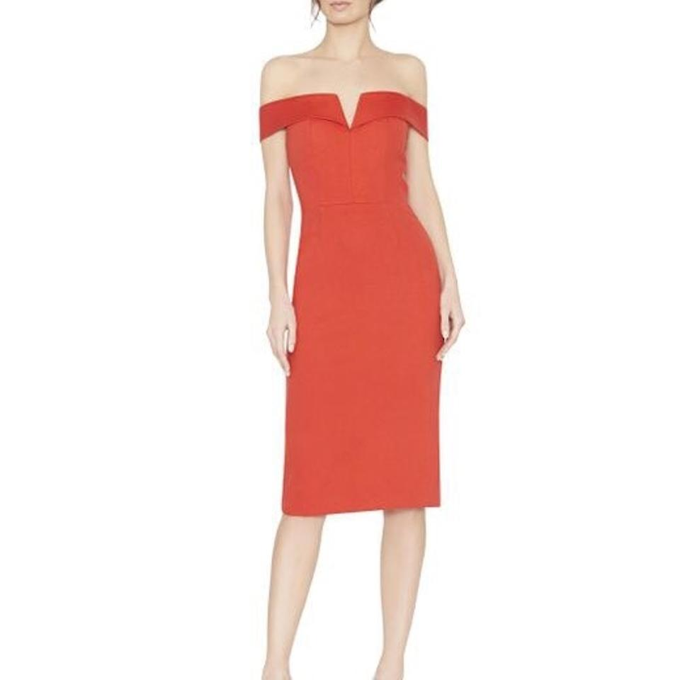 Alice + Olivia Red Sienna Off Shoulder Fitted Mid-length Cocktail ...