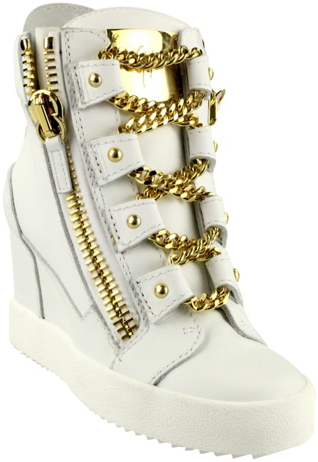 Item - White Gold Chain Lace High Top Dual Zip Wedge Sneakers Size EU 36 (Approx. US 6) Regular (M, B)
