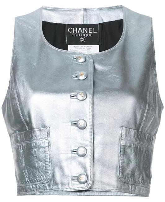 Item - Silver Leather Cropped Vest Size 6 (S)