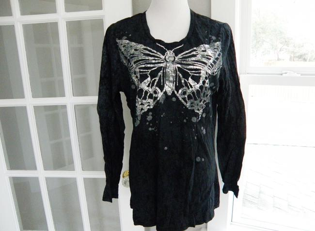 7 For All Mankind Bohemian Longsleeve Vintage Distressed T-shirt T Shirt black