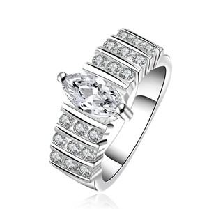 Amazing White Sapphire Silver Engagement Ring Free Shipping