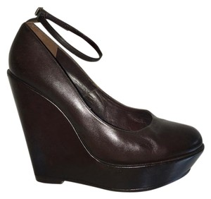 Chlo Mary Jane Leather Platform Chloe Dark Brown Wedges