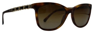 Chanel Polarized Rectangle Light Tortoise Gold Sunglasses 5260Q C.574/S9