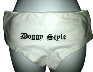 Dirty Dog Saloon Hot Pants Biker Boyfriend Mini/Short Shorts white and black