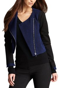 W118 by Walter Baker Cropped Jacket Crop Asymmetrical blue Blazer