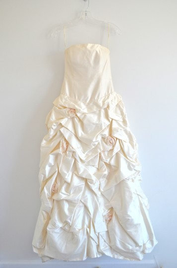 Paloma Blanca Silk Strapless A-line Ballgown With Pickups And Blush Rosettes Wedding Dress