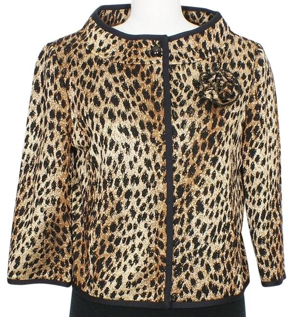 Item - Black Brown Gold Leopard Wool Blend Knit Pin Cropped Jacket Size 8 (M)