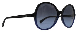 Chanel Round Oversize Gradient Black Blue Sunglasses 5351 c.1558/S2