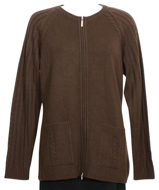 Item - Cocoa Brown L Cashmere Knit Zip Front Cardigan Jacket Size 12 (L)