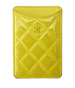 Chanel Chanel Yellow Quilted Patent Leather Card Case (135701)