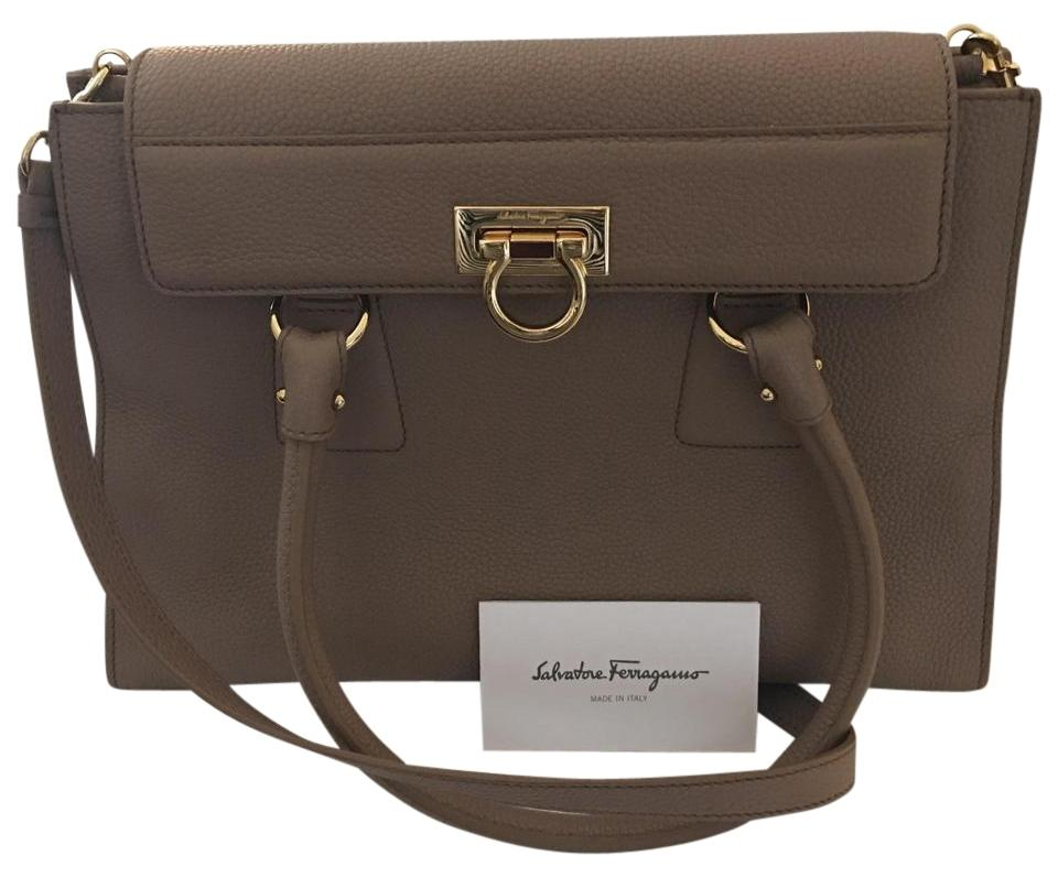 56551546f43b Salvatore Ferragamo Lotty Gray Calfskin Leather Satchel - Tradesy