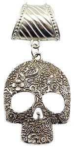 Unknown Tibet Silver Skull Scarf Pendant Charm Free Scarf & Shipping