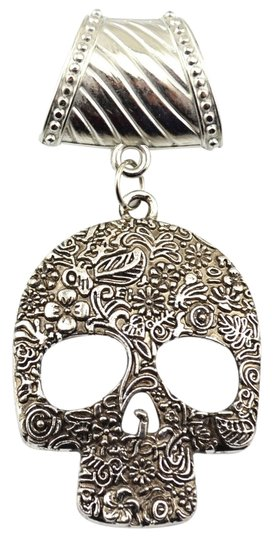 Unknown BOGO Free Tibet Silver Skull Scarf Pendant Charm Free Scarf & Shipping