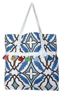 Lisa Nieves Cat Eye Casual Evening Print Oversized Tote in blue brown fuchsia off white