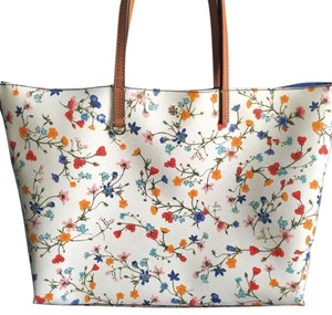 Tory Burch Tote in Ivory with Flower Print