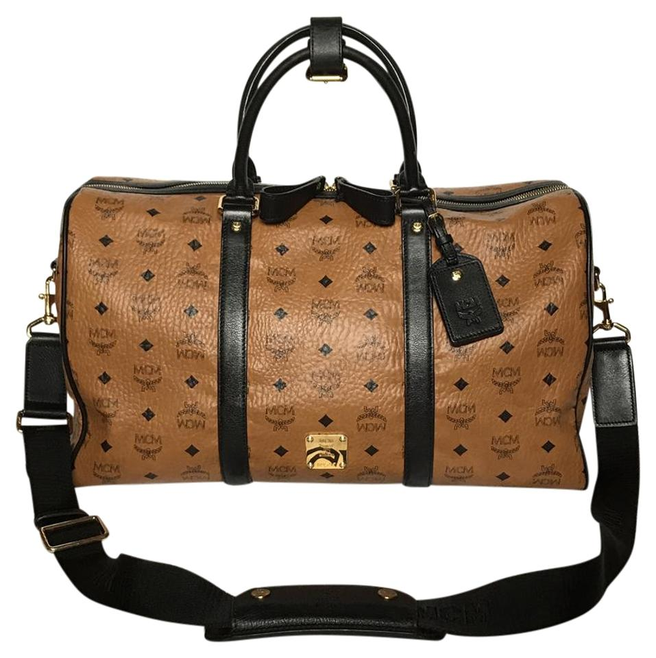 MCM Heritage Collection Duffle Cognac Visetos Leather Canvas Weekend ... 768c7db8717fd
