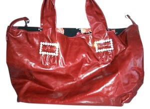 Oversized Sexy Tote in Soft Red Leather Tote with rhinestone buckles