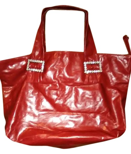 Other Oversized Sexy Glamorous Tote in Soft Red Leather Tote with rhinestone buckles