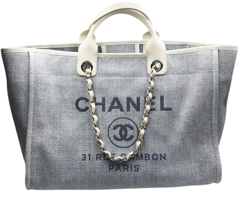 7246ff84318e27 Chanel Deauville Bag Large Light Blue Straw Leather Tote - Tradesy