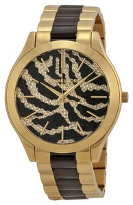 Michael Kors Michael Kors Slim Runway Zebra-pattern Crystal Pave Dial Two-tone Ladies Watch