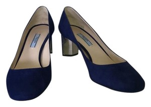 Prada Suede Leather Mirror Luxury Blue Navy Pumps