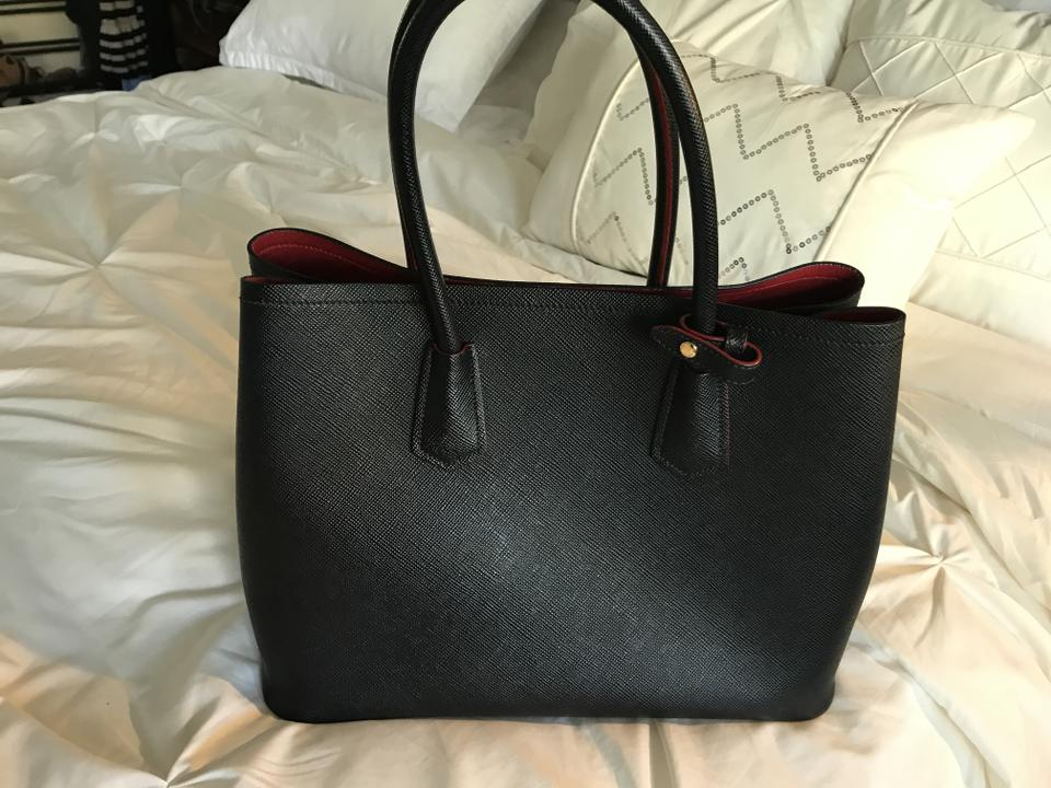 31ebfb35a855 Prada Double Saffiano Cuir Black Red Leather Tote - Tradesy
